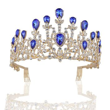 Baroque Vintage Gold Rhinestone Red Blue Crystal Crown With Comb Wedding Hair Accessories Luxury Queen King Crowns Bridal Tiaras
