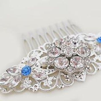Bridal Hair Combs | Crystal Hair Accessories | Something Blue for Bride