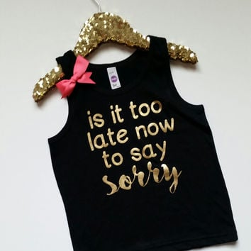 Is It Too Late Now To Say Sorry - Girls Tank - Concert - Girls Onesuit - Onesuit - Ruffles with Love - RWL Kids