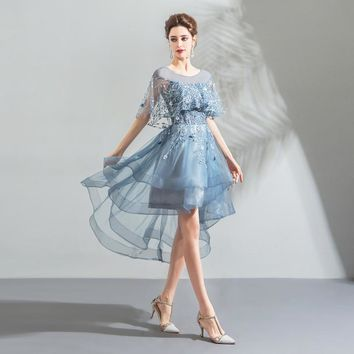 Light Blue Prom Dresses Short Front Long Back with Wrap Lace Tulle Tiered Evening Gowns
