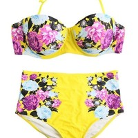 Vakind® Women High Waist Floral Print Push Up Bikini Sets Halter Bandage Swimwear