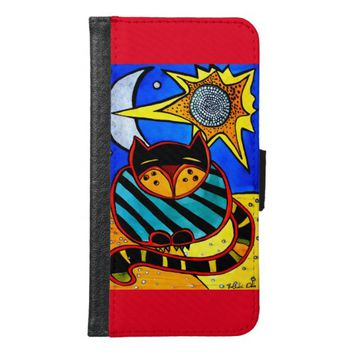 Sun and Moon Whimsical Cat Art Samsung Galaxy S6 Wallet Case