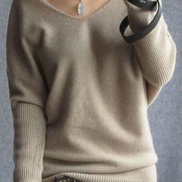 2016 spring autumn cashmere sweaters women fashion sexy v-neck sweater loose 100% wool sweater batwing sleeve plus size pullover