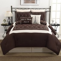 VCNY Versailles 8-Piece Embroidery Comforter Set, King, Brown