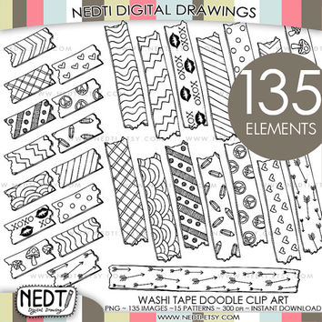 135 Hand Drawn Washi Tape Clip Art, Doodle Clipart, 15 motif patterns, Instant Download, Personal Commercial OK