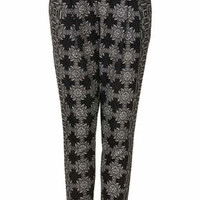Floral Grid Jersey Tapered Trousers - Monochrome