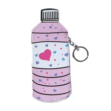 Adorable Pink Heart Water Bottle Cute Coin Purse Keychain Wallet