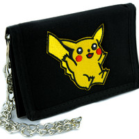 Pikachu Pokemon Go Tri-fold Wallet with Chain Alternative Clothing Gotta Catch em All