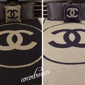 New chanel Classic cashmere Iconic CC Logo TOP dress Blanket Throw Pillow in bag