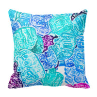 candy bears blue sketch food sweet edible throw pillow