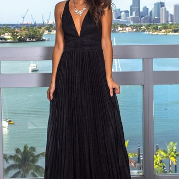 Black Shimmer Pleated Maxi Dress