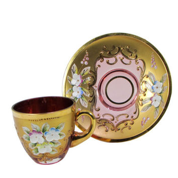 Vintage Hand Painted Pink Cranberry Glass Enamel Jeweled Demitasse Cup & Saucer