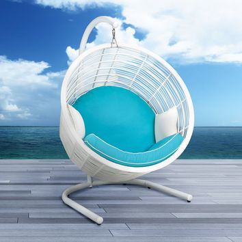 Harley Wicker Swing Chair with Stand