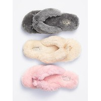UGG Winter Keep Women Cute Warm Wool Bow Slippers Shoes