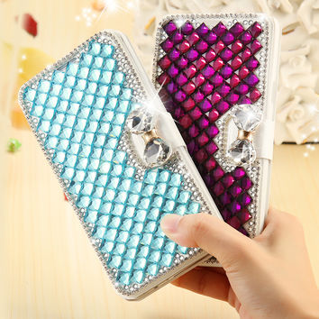 Bling Crystal Diamond Case Fashion Glitter Rhinestone Card Slot Leather Phone Cover For Samsung Galaxy S5 S6 Edge Plus S7 Edge