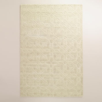 Ivory Classic Carved Wool Rug - World Market