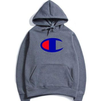 The Champion Stereo Printed With A Velvet Jacket A New Style Hooded Autumn And Winter Wear Men's Hoodies.