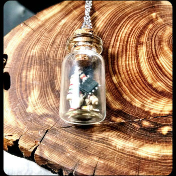 Handmade Computer Chip Microchip Tan Resistors in Small Glass Jar Necklace on Stainless Steel Chain Upcycle Terrarium Jewelry Custom Length
