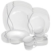 Lorren Home Trends Confetti 20-Piece Square Dinnerware Set in Grey