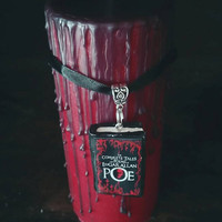 gothic poetry - goth decor -writers gift - goth decor - horror book charm -  horror candle - Pillar candle - literature gift