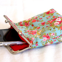 IPhone 5 Case / Cigarette Case - Mint Green with Red Flowers 100% cotton - Silver Frame