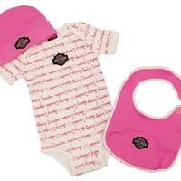 Harley Davidson Infant Girls 3 pc Gift Set 3-6 Mos