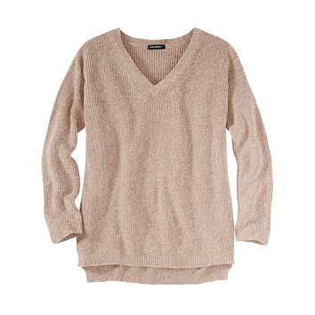 V-Neck Shaker Sweater in Fawn by 525 America