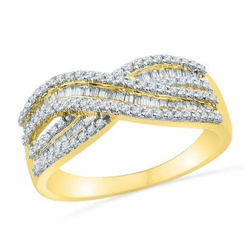 10kt Yellow Gold Women's Round Baguette Diamond Crossover Band Ring 1-2 Cttw - FREE Shipping (US/CAN)