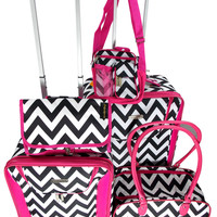 Luggage Chevron Black White Pink 5 Pc Travel Set 360 Spinner Messenger Gadget