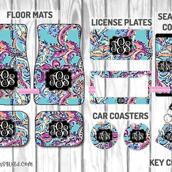 Lilly Pulitzer Bait & Switch Car Mat /Plate & Frame / Seat belt cover / Key Chain / Car Coaster / Car Accessory Gift  Set