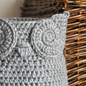 Grey Owl Basket Crocheted Bin Yarn Holder Woodland Nursery Decor Home Organizer