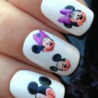 NAIL ART WATER TRANSFERS STICKERS DECALS MICKEY & MINNIE MOUSE HEADS/FACES #94