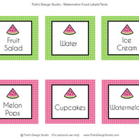 Watermelon Party Printable Food Labels: INSTANT DOWNLOAD
