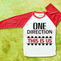 One Direction TShirts This Is Us TShirts 1D TShirts Raglan Tee Baseball Tee Unisex TShirts Women TShirts Men TShirts Red Sleeve Tee Shirts