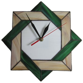 Wall Clock Stained Glass Celtic - Unique Modern Art Glass with Celtic Geometric Design - Clock gift idea