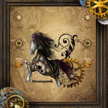 'Wild steampunk horse with clocks and gears' by nicky2342