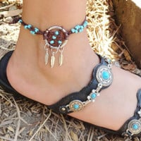 Dream Catcher ANKLET or BRACELET Turquoise and Brown Adjustable