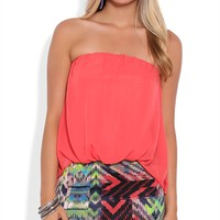 Strapless Blouson Dress with Tribal Print Skirt