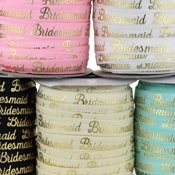 """ROLL / Metallic gold bridesmaids print 5/8"""" fold over elastic FOE / 50 yards - 5 color choices"""