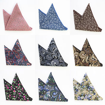 Vintage Men's Paisley Handkerchief Cotton Pocket Floral Pocket Square Business Chest Towel Gentlemen Suit Hankies