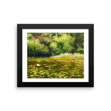 Little duck in the lily pond Fine Art Framed print by American Artist Hilary J. England