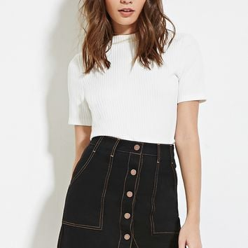 Buttoned Denim Skirt