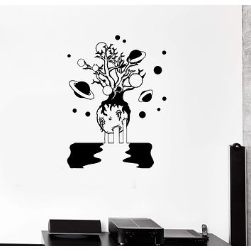 Wall Decal Tree Planet Moon Universe Satellite Space Vinyl Sticker (ed1317)