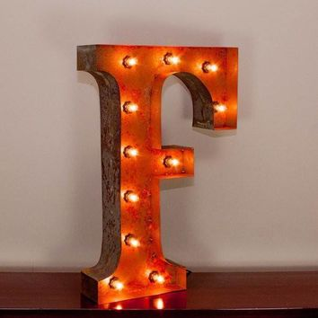 "24"" Letter F Lighted Vintage Marquee Letters with Screw-on Sockets"