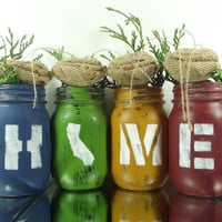 California Decor, State Pride, California Home, Cute Home Decor, California State, Country Home Decor, Colored Mason Jars, Tabletop Decor