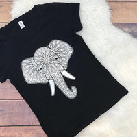 Mosaic Elephant Women's V Neck Shirt • Screen Printed • Never Forget • Elephants • Trunk • Tusk • Silhouette