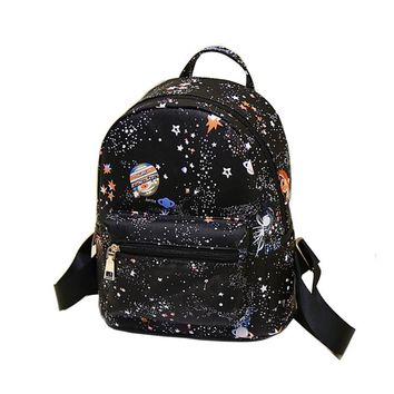 Fashion Star Universe Space Printing Black Backpack