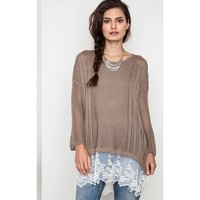 Mocha Latte Luxe Sweater Knit Top