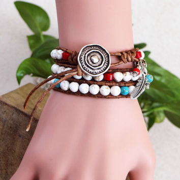 Handcrafted  Coral And Turquoise Native American Leather Wrap Bracelet.
