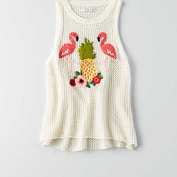 AEO Crochet Embroidered Tank , Cream